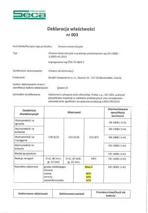 Deklaracja właściwości użytkowych SECA nr 003