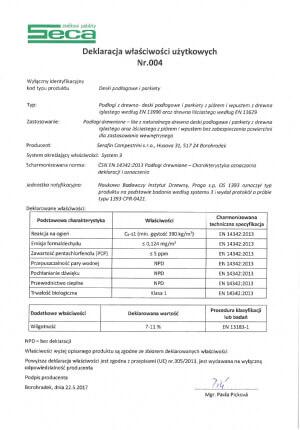 Deklaracja właściwości użytkowych SECA nr 004