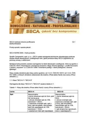 Karta produktu - SECA NORM 2009